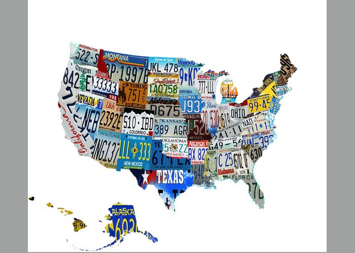 License Plate Greeting Card featuring the digital art Usa License Plates Map 4p by Brian Reaves