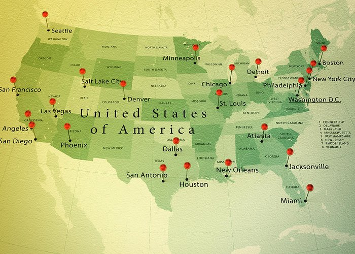 Usa Map Square Cities Straight Pin Vintage Greeting Card For Sale By