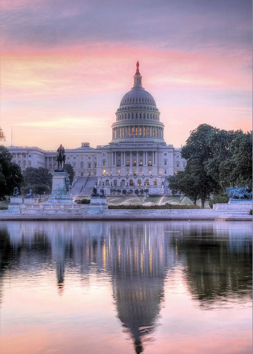 Capital Capitol Congress Senate House Dome Washington Dc Pink Blue Purple Sunrise Us United States Patriotic Fourth Of July 4th Historic Dawn Building Usa Greeting Card featuring the photograph Usa Today by JC Findley
