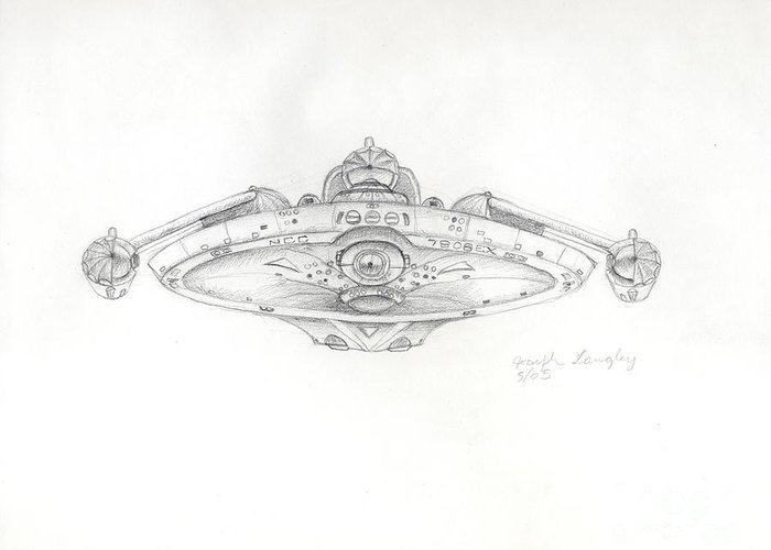 Star Trek Greeting Card featuring the drawing Uss Bering Sea Front View by Joseph A Langley