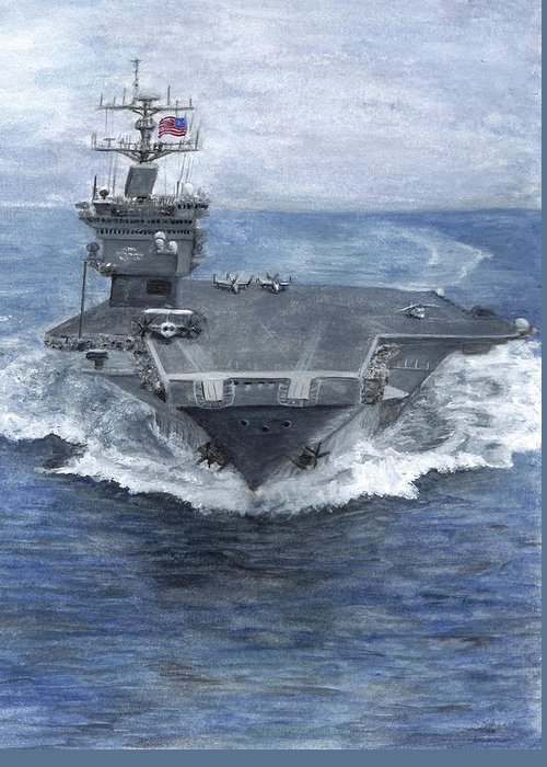 Navy Greeting Card featuring the painting Uss Enterprise by Sarah Howland-Ludwig