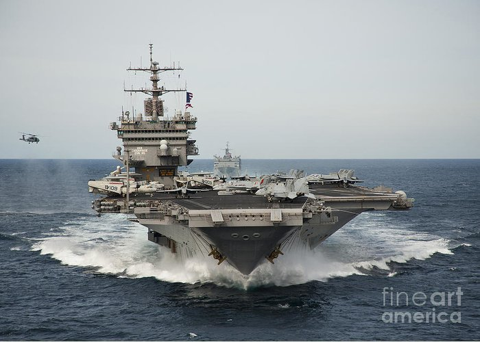 Uss Enterprise Greeting Card featuring the photograph Uss Enterprise Transits The Atlantic by Stocktrek Images