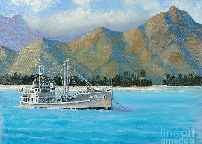 Seascape Greeting Card featuring the painting Uss Reluctant Anchored Off Ennui by Glenn Secrest