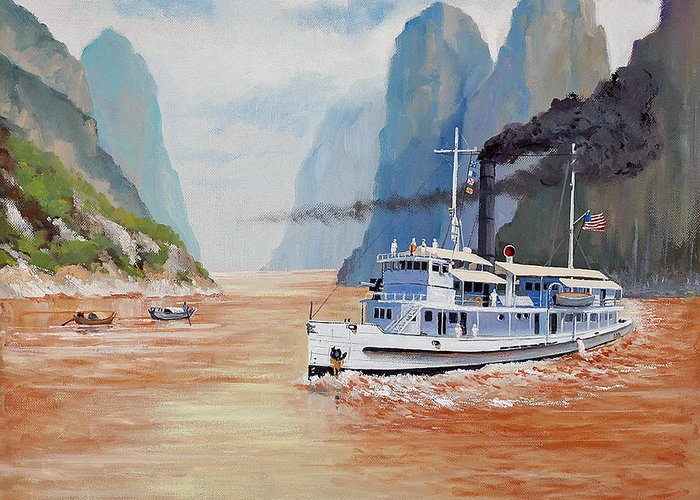 the Sand Pebbles Greeting Card featuring the painting Uss San Pablo On Yangtze River Patrol by Glenn Secrest