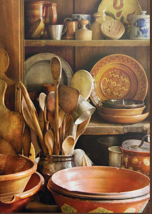 Hdr Greeting Card featuring the photograph Utensils - Remembering Momma by Mike Savad