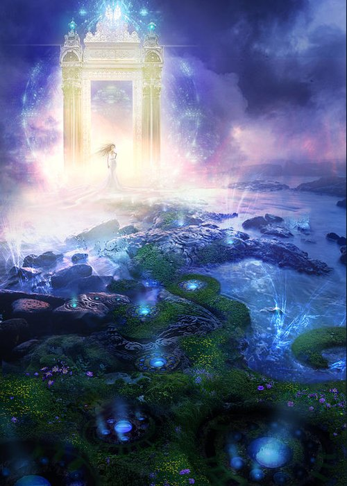 Landscapes Greeting Card featuring the painting Utherworlds Passage To Hope by Philip Straub