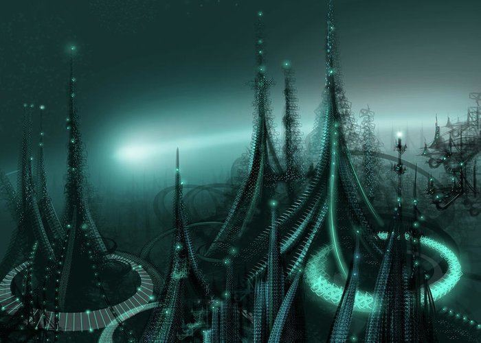 Cityscape Greeting Card featuring the digital art Utopia by James Christopher Hill