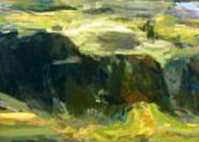 Landscape Greeting Card featuring the painting Utranchal-2 by Dinesh Baduni