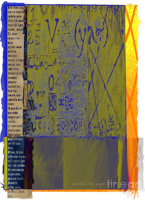 Lettering Greeting Card featuring the mixed media V by Pederbeck Arte Gruppe