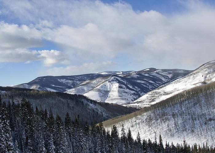 Vail Greeting Card featuring the photograph Vail Valley From Ski Slopes by Brendan Reals
