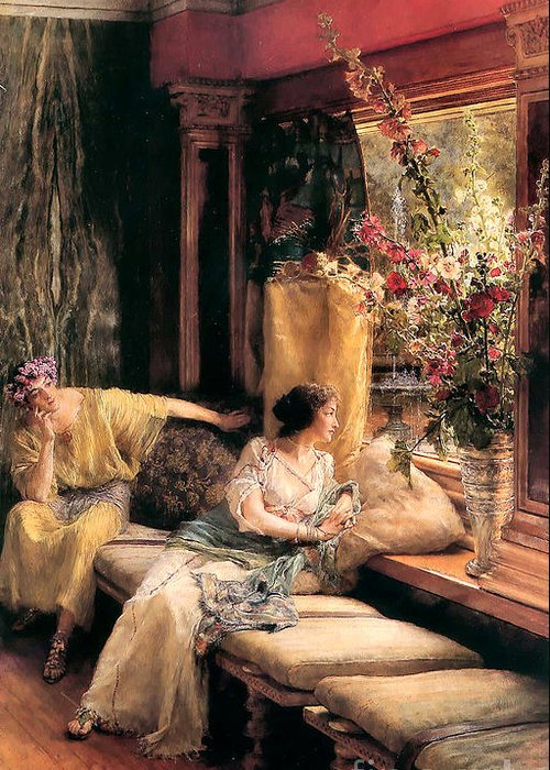 Vain Courtship Greeting Card featuring the painting Vain Courtship 1900 by Sir Lawrence Alma Tadema