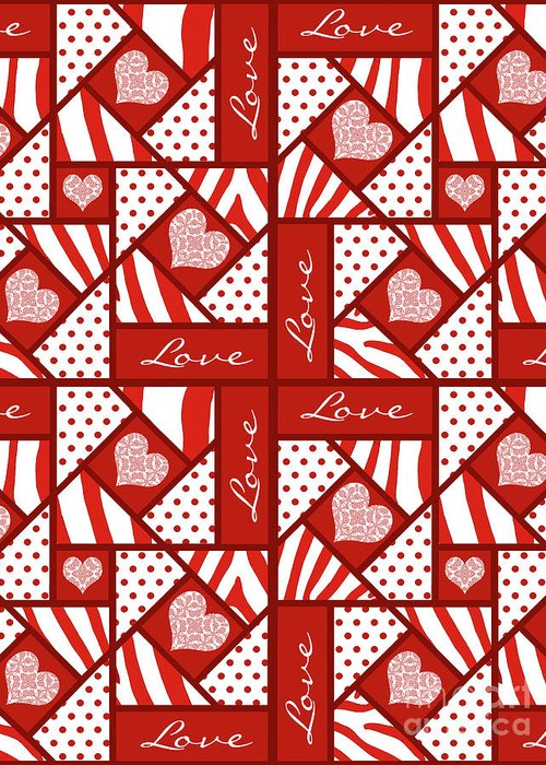 Valentine 4 Square Quilt Block Greeting Card featuring the digital art Valentine 4 Square Quilt Block by Methune Hively