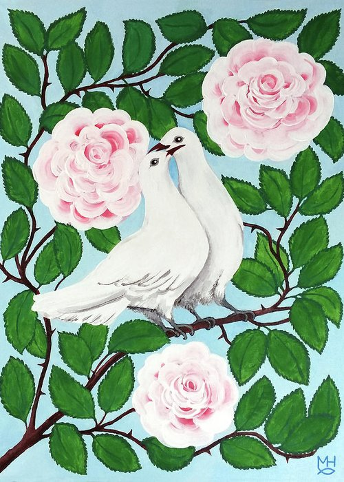 Valentine Greeting Card featuring the painting Valentine Doves by Marilyn Hilliard