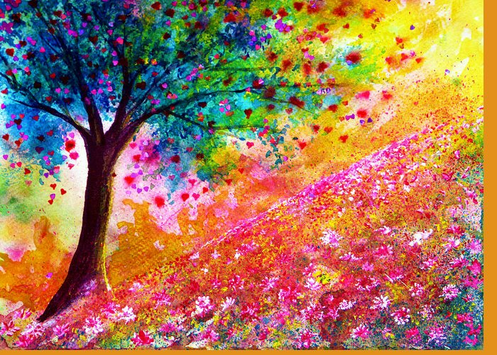 Nature Greeting Card featuring the painting Valentine Tree by Ann Marie Bone
