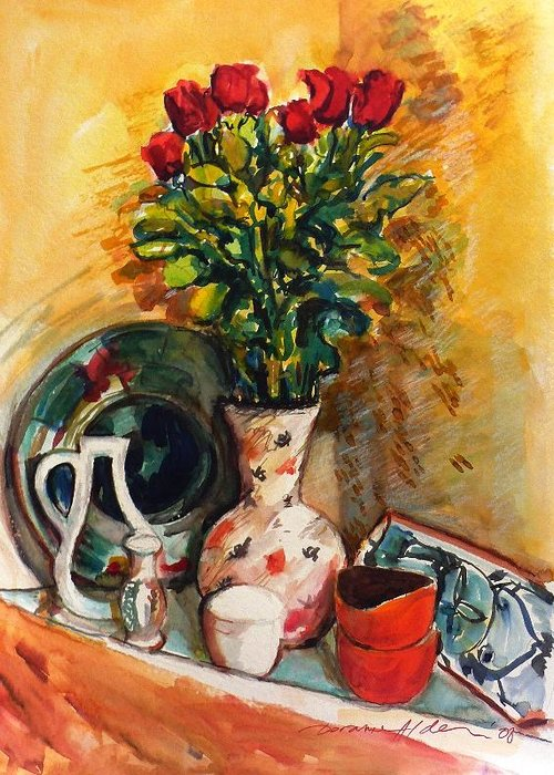 Floral Greeting Card featuring the painting Valentine's Day Bouquet by Doranne Alden