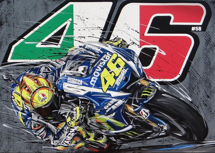 Valentino Rossi 46 Yamaha Greeting Card for Sale by Roberto Muccillo – Valentino Rossi Birthday Card