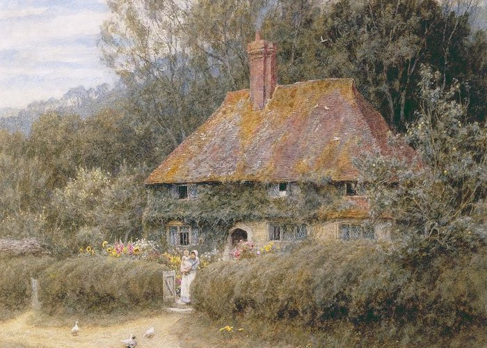 Valewood Greeting Card featuring the painting Valewood Farm Under Blackwood Surrey by Helen Allingham