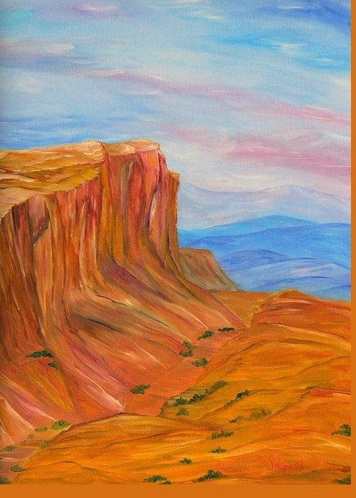 Southwest Greeting Card featuring the painting Valley Of Fire by Cary Singewald