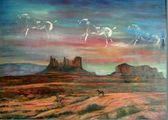Landscape Greeting Card featuring the painting Valley Of The Horses by Darla Joy Johnson