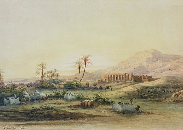 Valley Greeting Card featuring the painting Valley Of The Nile With The Ruins Of The Temple Of Seti I by Prosper Georges Antoine Marilhat