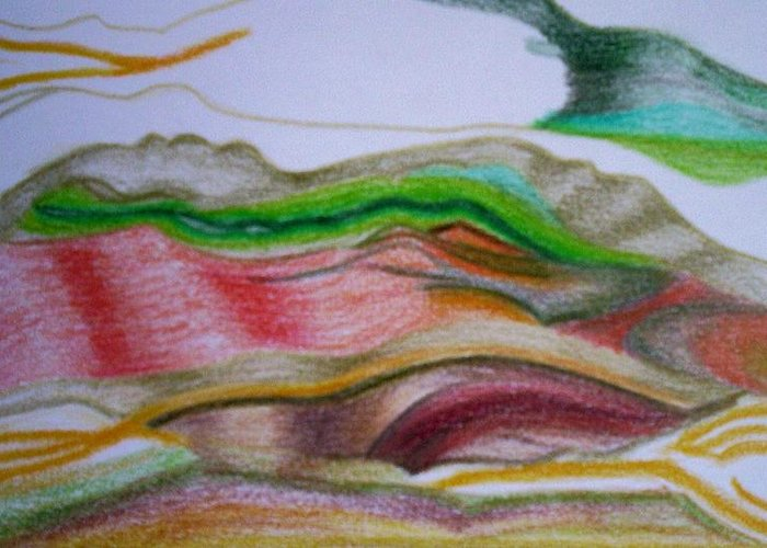 Abstract Greeting Card featuring the painting Valley Stream by Suzanne Udell Levinger