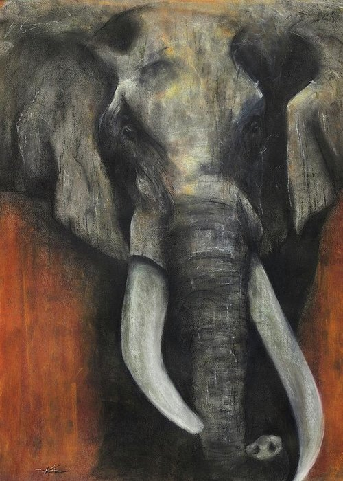 Elephant Greeting Card featuring the pastel Valour by Kristin Guttridge