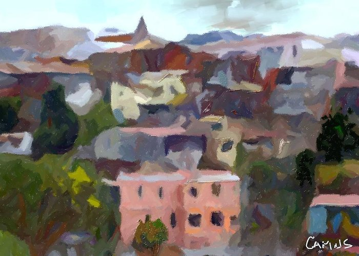 Art Greeting Card featuring the painting Valparaiso - Chile by Carlos Camus