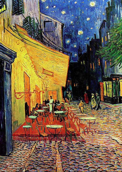 Van Gogh Greeting Card featuring the painting Van Gogh Cafe Terrace Place Du Forum At Night by Vincent Van Gogh