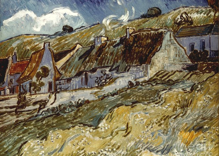 1890 Greeting Card featuring the photograph Van Gogh: Cottages, 1890 by Granger