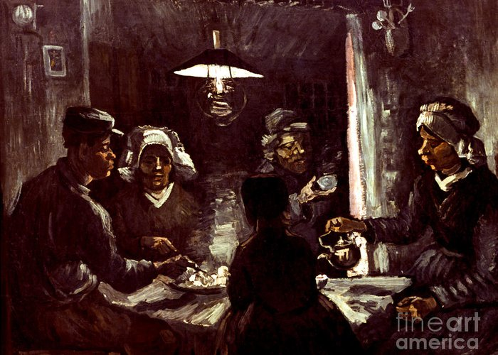 1885 Greeting Card featuring the photograph Van Gogh: Meal, 1885 by Granger