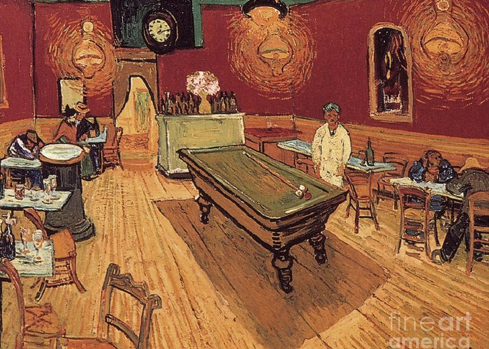 1888 Greeting Card featuring the painting Van Gogh Night Cafe 1888 by Granger
