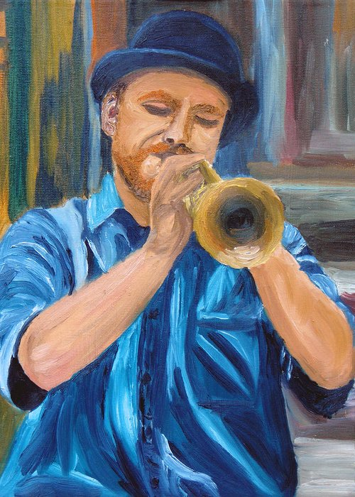 Musician Greeting Card featuring the painting Van Gogh Plays The Trumpet by Michael Lee
