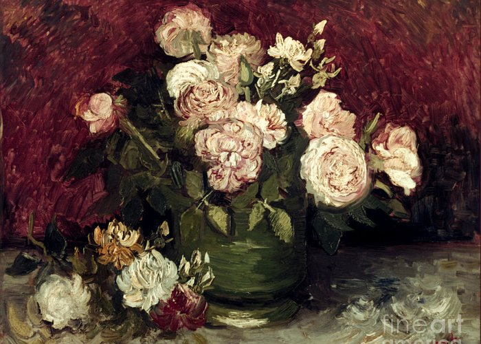1886 Greeting Card featuring the photograph Van Gogh: Roses, 1886 by Granger