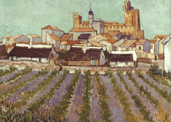 1888 Greeting Card featuring the photograph Van Gogh: Saintes-maries by Granger