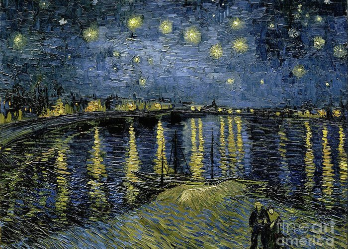 1888 Greeting Card featuring the painting Van Gogh, Starry Night by Granger