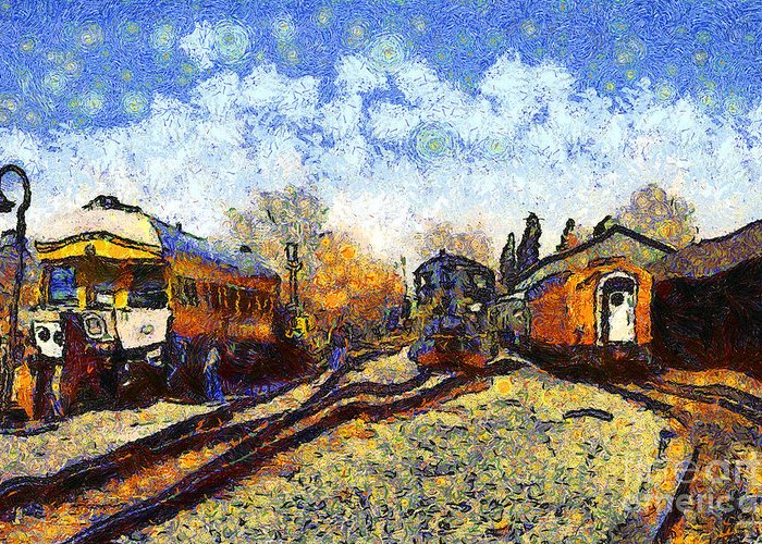 Transportation Greeting Card featuring the photograph Van Gogh.s Train Station 7D11513 by Wingsdomain Art and Photography