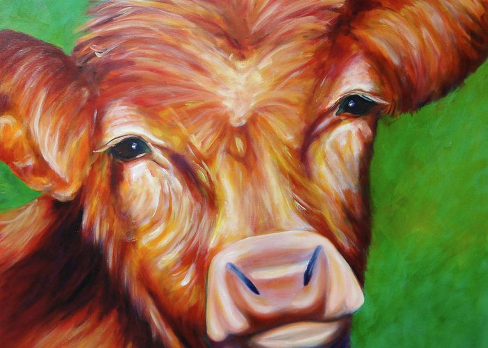 Bull Greeting Card featuring the painting Van by Shannon Grissom