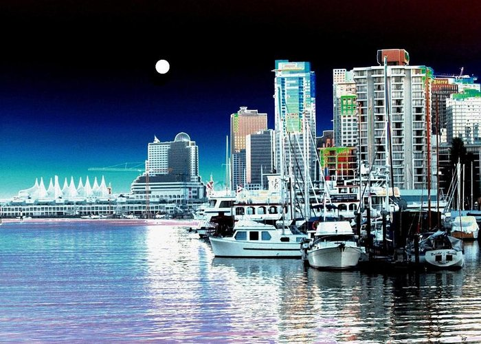 Vancouver Harbor Greeting Card featuring the digital art Vancouver Harbor Moonrise by Will Borden