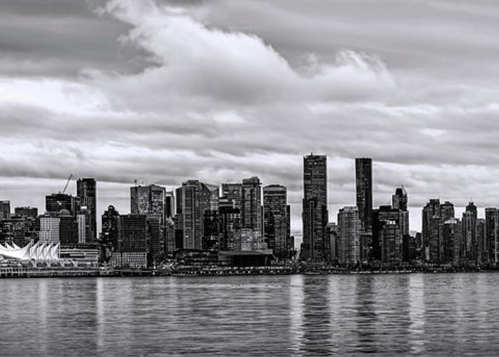 Vancouver Greeting Card featuring the photograph Vancouver In Black And White. by Viktor Birkus