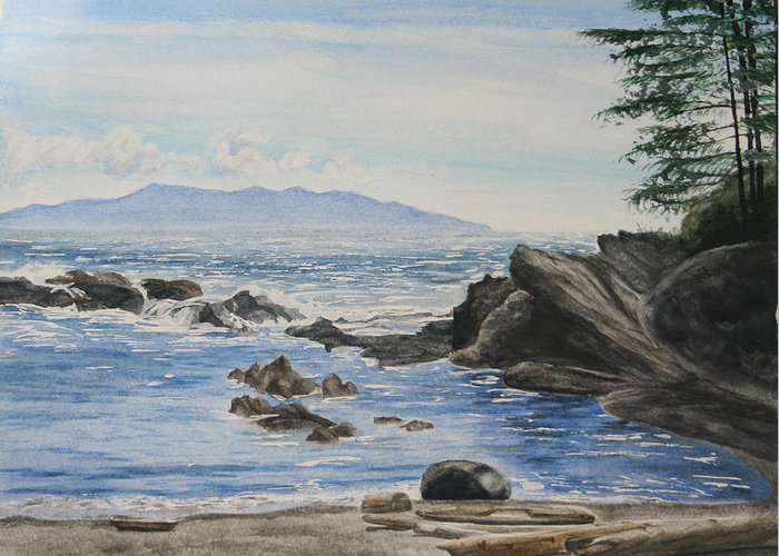 Seascape Greeting Card featuring the painting Vancouver Island by Monika Degan