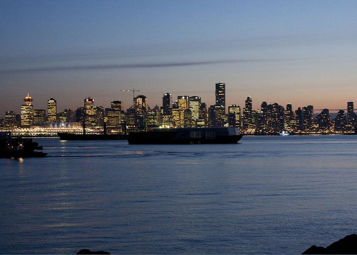 Night Scenes Greeting Card featuring the photograph Vancouver Lights by Bonnes Eyes Fine Art Photography