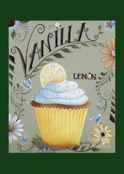 Art Greeting Card featuring the painting Vanilla Lemon Cupcake by Catherine Holman
