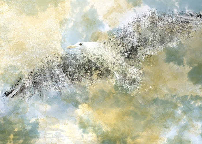 Decorative Greeting Card featuring the photograph Vanishing Seagull by Melanie Viola