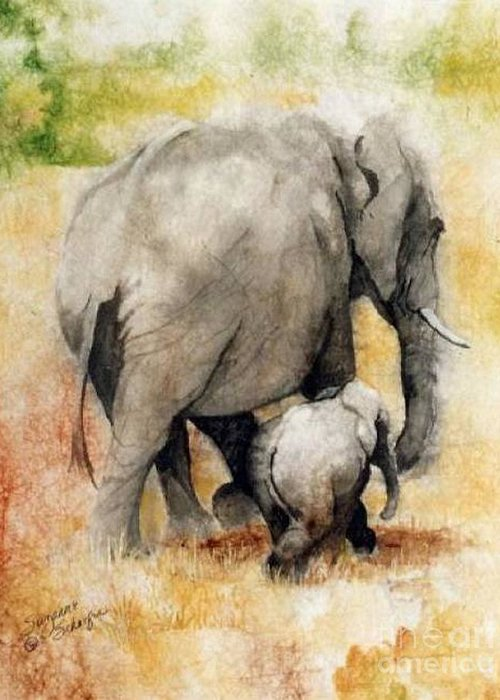 Elephants Greeting Card featuring the painting Vanishing Thunder Series - Mama And Baby Elephant by Suzanne Schaefer