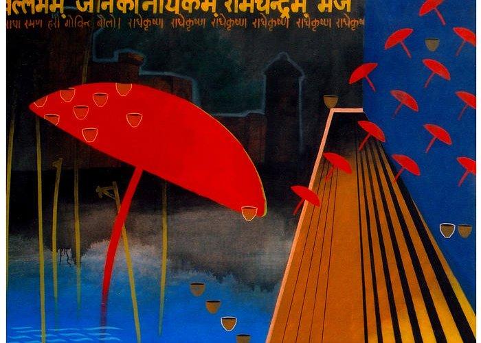 Varanasi Greeting Card featuring the painting Varanasi Truelly Infinitive by Bharat Gothwal