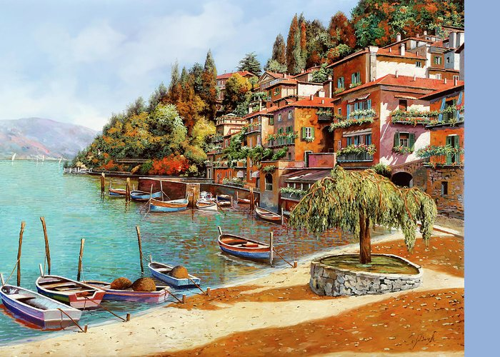 Lake Como Greeting Card featuring the painting Varenna On Lake Como by Guido Borelli