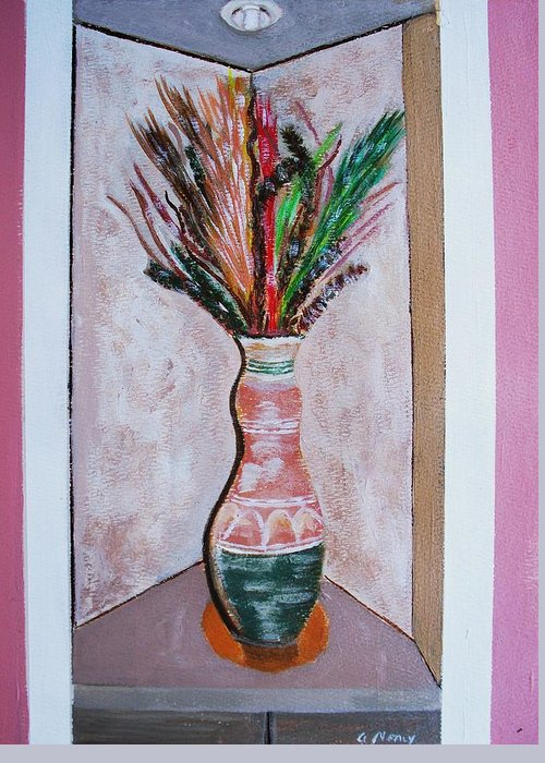 Still Life Greeting Card featuring the painting Vase In Cubby Hole by Arvin Nealy
