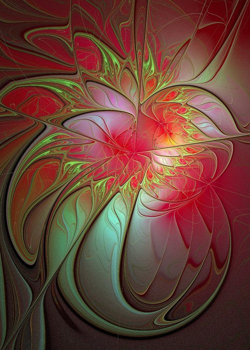 Digital Art Greeting Card featuring the digital art Vase Of Flowers by Amanda Moore