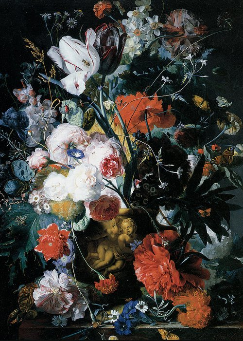 Jan Van Huysum Greeting Card featuring the painting Vase Of Flowers by Jan Van Huysum