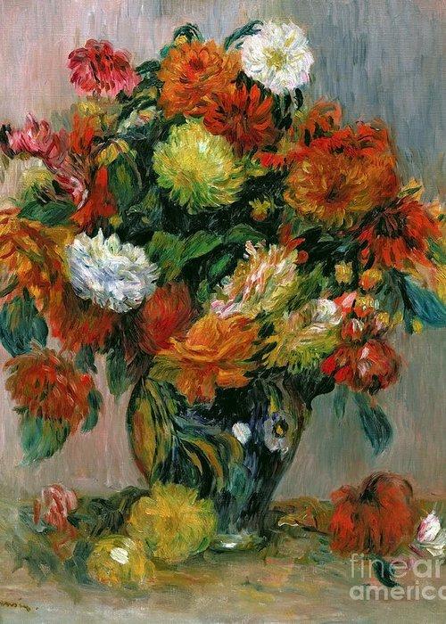 Vase Greeting Card featuring the painting Vase Of Flowers by Pierre Auguste Renoir